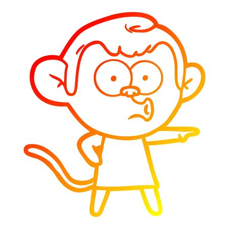 warm gradient line drawing of a cartoon pointing monkey