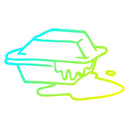 cold gradient line drawing of a cartoon cheesy takeout