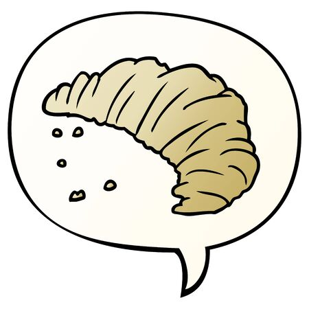 cartoon croissant with speech bubble in smooth gradient style 向量圖像