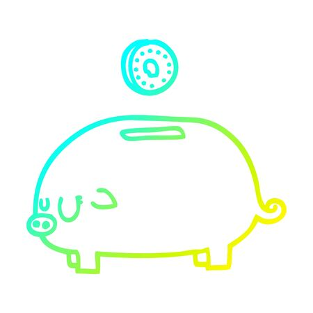 cold gradient line drawing of a cartoon piggy bank