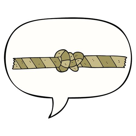 cartoon knotted rope with speech bubble