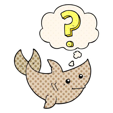 cartoon shark asking question with thought bubble in comic book style