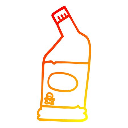 warm gradient line drawing of a cartoon bleach cleaner Stock Illustratie