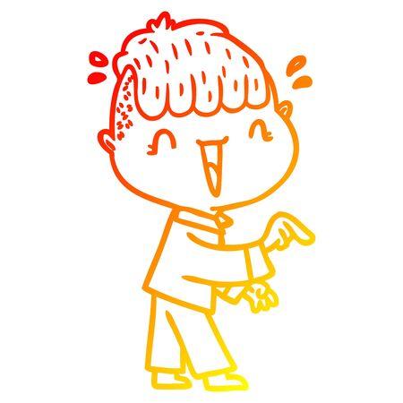 warm gradient line drawing of a cartoon happy boy surprised  イラスト・ベクター素材