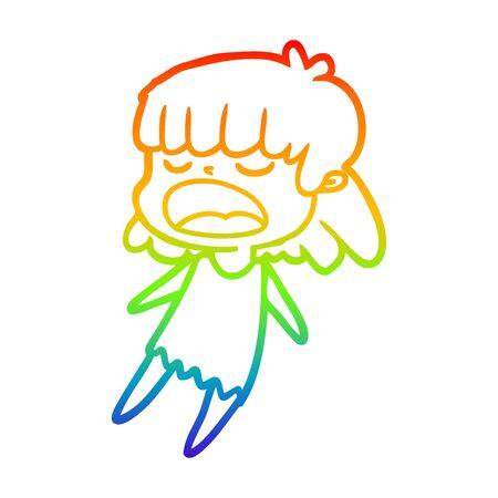 rainbow gradient line drawing of a cartoon woman talking loudly Çizim