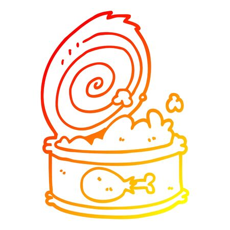 warm gradient line drawing of a cartoon canned food 版權商用圖片 - 129836617