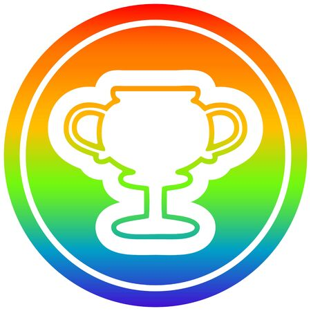 trophy cup circular icon with rainbow gradient finish Иллюстрация