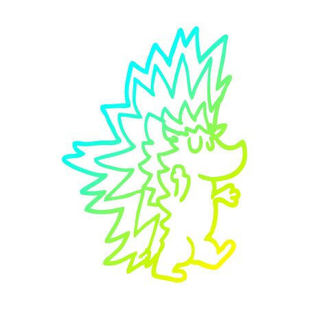 cold gradient line drawing of a cartoon spiky hedgehog