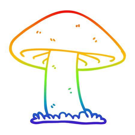 rainbow gradient line drawing of a cartoon mushroom