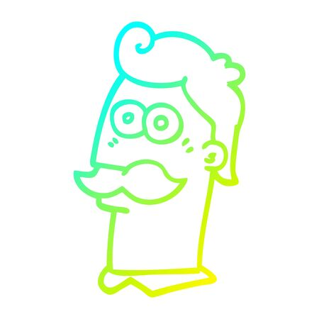 cold gradient line drawing of a cartoon man with moustache