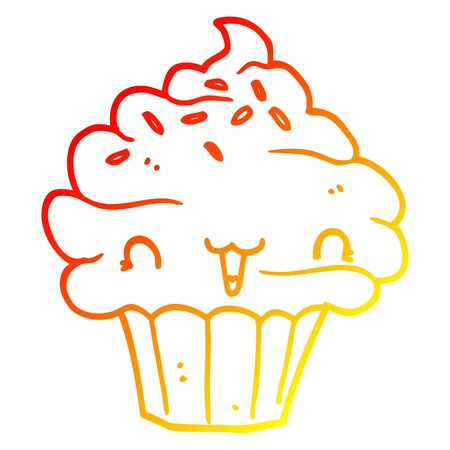 warm gradient line drawing of a cute cartoon frosted cupcake