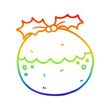 rainbow gradient line drawing of a cartoon christmas pudding