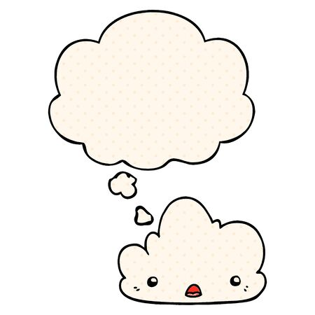 cute cartoon cloud with thought bubble in comic book style  イラスト・ベクター素材