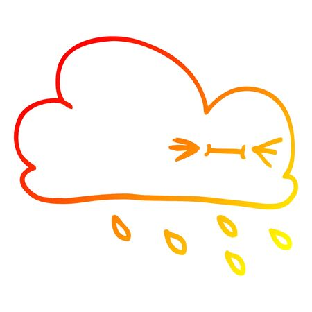 warm gradient line drawing of a cartoon expressive weather cloud Stock Vector - 129836698