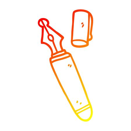 warm gradient line drawing of a cartoon fountain pen