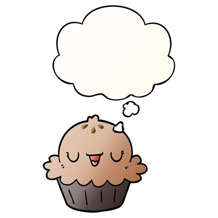 cute cartoon pie with thought bubble in smooth gradient style