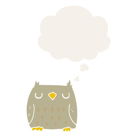 cute cartoon owl with thought bubble in retro style