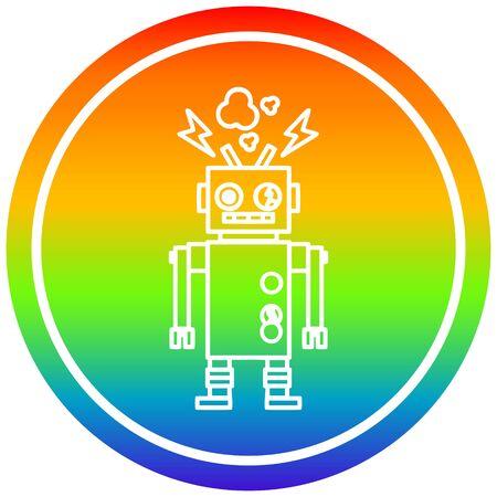 Kreisförmiges Symbol des nicht funktionierenden Roboters mit Regenbogen-Farbverlauf Vektorgrafik