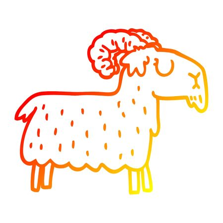 warm gradient line drawing of a cartoon stubborn goat Illustration