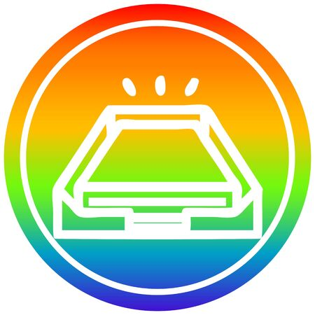 low office paper stack circular icon with rainbow gradient finish