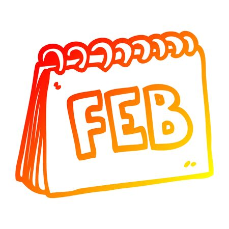 warm gradient line drawing of a cartoon calendar showing month of February 일러스트