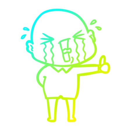 cold gradient line drawing of a cartoon crying bald man Reklamní fotografie - 129836788
