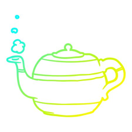 cold gradient line drawing of a tea pot 向量圖像