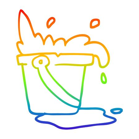 rainbow gradient line drawing of a cartoon water and bucket Illustration
