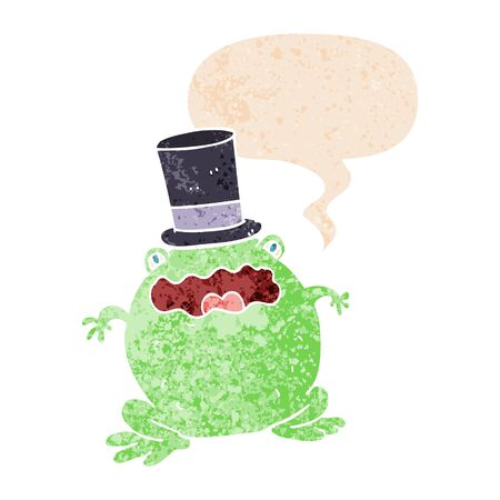 cartoon toad wearing top hat with speech bubble in grunge distressed retro textured style