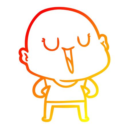 warm gradient line drawing of a happy cartoon bald man Reklamní fotografie - 129836951