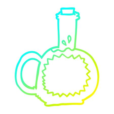 cold gradient line drawing of a cartoon syrup