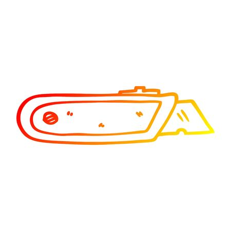 warm gradient line drawing of a cartoon work knife