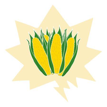 cartoon organic corn with speech bubble in retro style