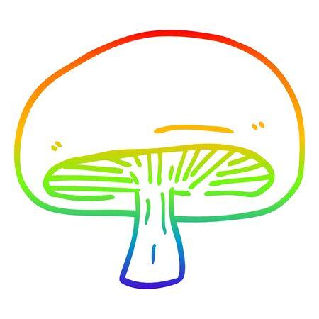 rainbow gradient line drawing of a cartoon chestnut mushroom