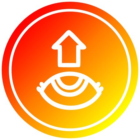 eye looking up circular icon with warm gradient finish Ilustração