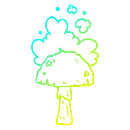 cold gradient line drawing of a cartoon mushroom with spore cloud Stock Illustratie