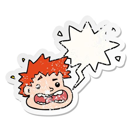 cartoon frightened face with speech bubble distressed distressed old sticker Ilustrace