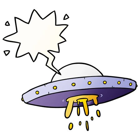 cartoon flying UFO with speech bubble in smooth gradient style Illustration