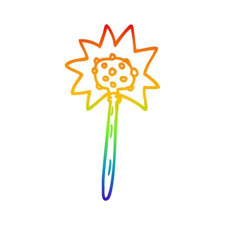 rainbow gradient line drawing of a cartoon mallet Ilustração