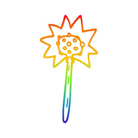 rainbow gradient line drawing of a cartoon mallet  イラスト・ベクター素材