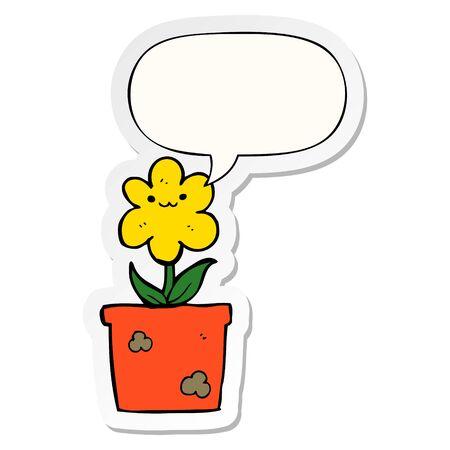 cartoon house plant with speech bubble sticker