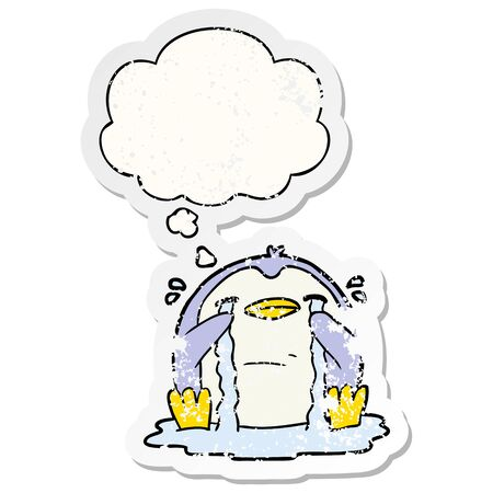 cartoon crying penguin with thought bubble as a distressed worn sticker