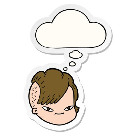 cartoon female face with thought bubble as a printed sticker