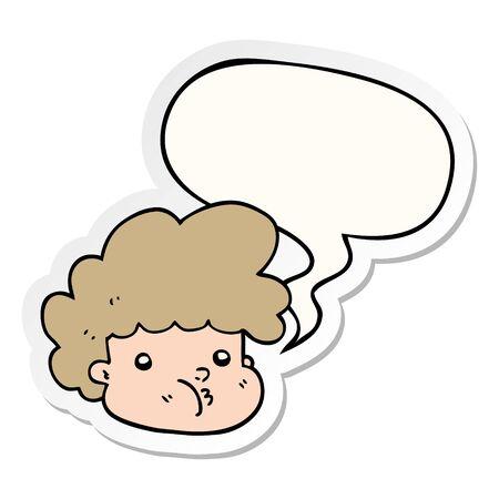 cartoon boy with speech bubble sticker