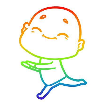 rainbow gradient line drawing of a happy cartoon bald man Reklamní fotografie - 129854461