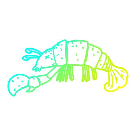cold gradient line drawing of a cartoon lobster