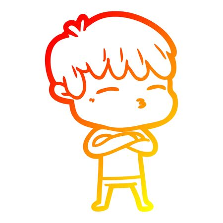 warm gradient line drawing of a cartoon frustrated man 일러스트