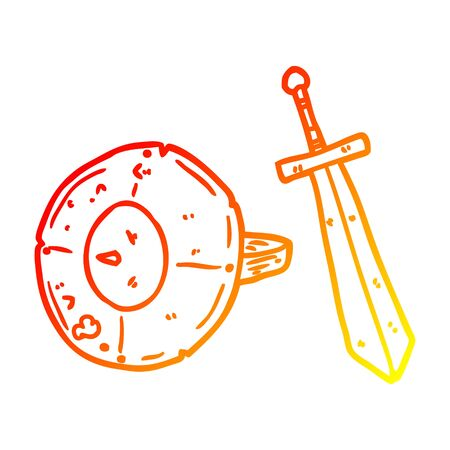 warm gradient line drawing of a old gladiator shield and sword