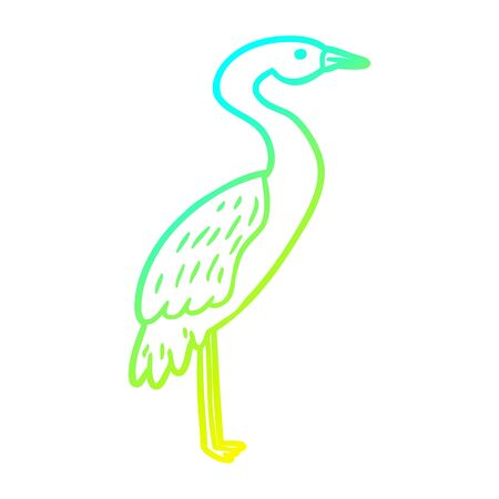 cold gradient line drawing of a Cartoon stork Ilustracja