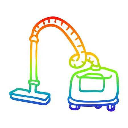 rainbow gradient line drawing of a cartoon vacuum Ilustrace